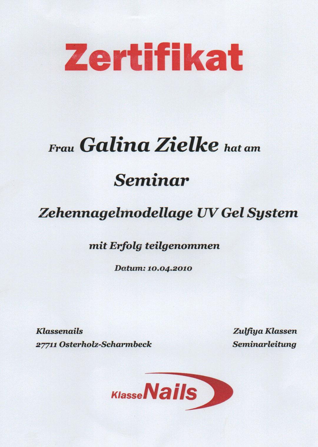 Galina Zielke - Mobile Fußpflege Zertifikat