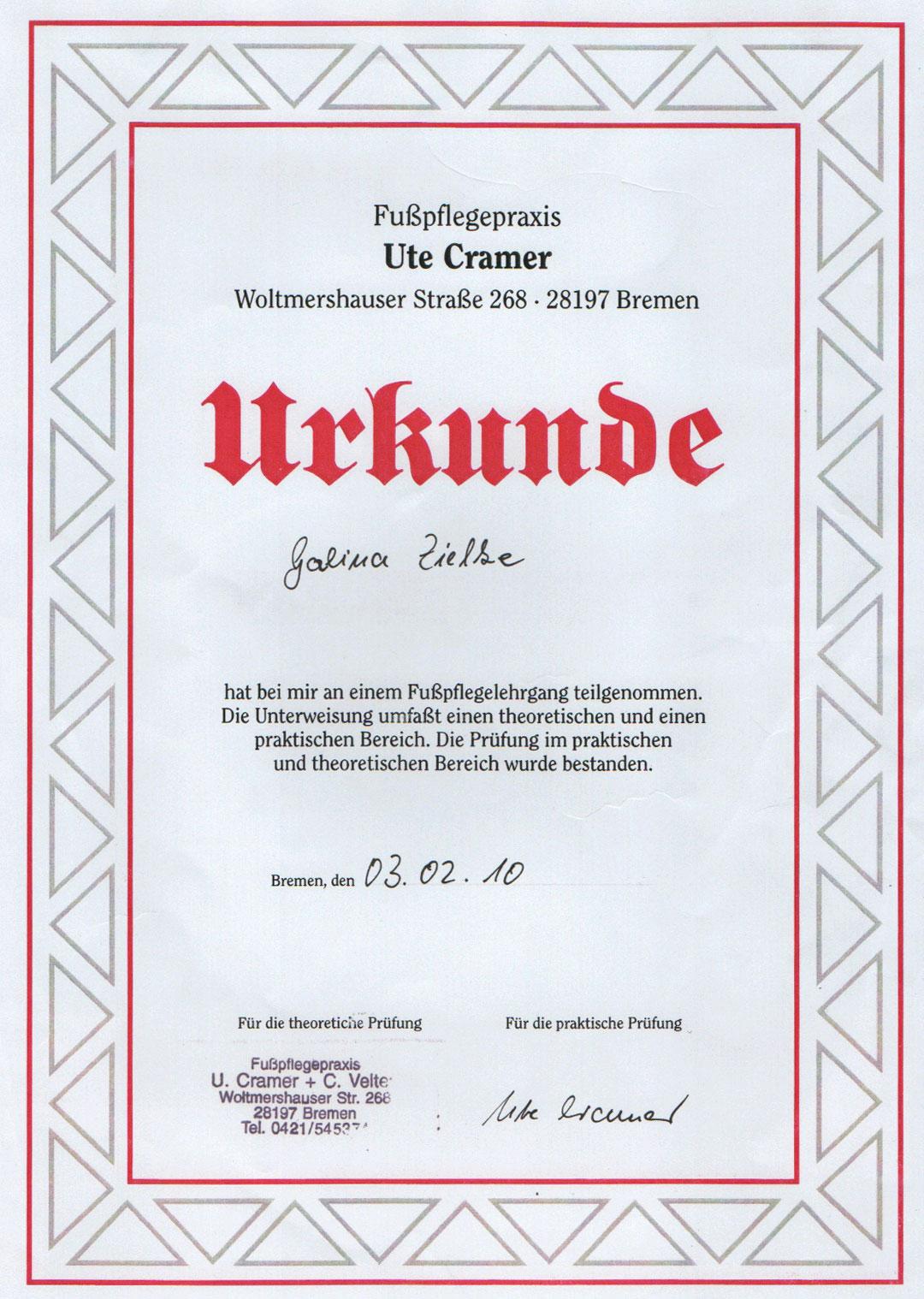 Galina Zielke - Mobile Fußpflege Urkunde